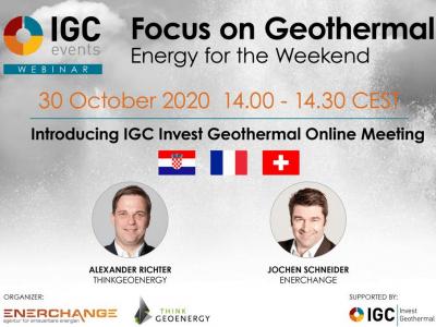 Webinar, 30. listopada: Geotermalna tržišta Hrvatske, Francuske i Švicarske