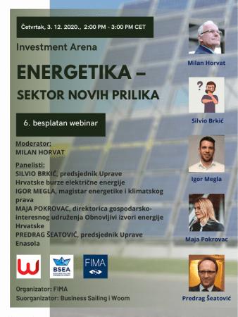 Webinar 'Energetika – sektor novih prilika', 3. prosinca